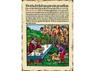 "Woodcut from the title page of a 1499 pamphlet published by Markus Ayrer in Nuremberg. It depicts Vlad III ""the Impaler"" (identified as Dracole wyade = Draculea voivode) dining among the impaled corpses of his victims. (Image: Wikipedia)"