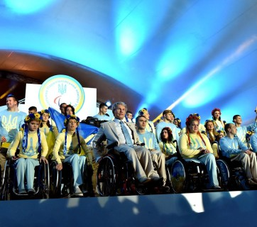 Ukraine's own Paralympic Chief Valeriy Sushkevych with Ukrainian Paralympic team. Photo: Paralympic Committee of Ukraine.
