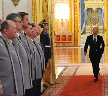 Putin enters the hall at the Kremlin in Moscow, Russia. (Image: kremlin.ru)