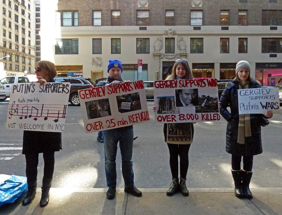 Protest against Valery Gergiev at Carnegie hall in New York, 28 February 2016. Photo: Vladimir Davidenko
