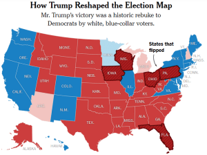 Map of 2016 US presidential race outcome by state (Image: New York Times)