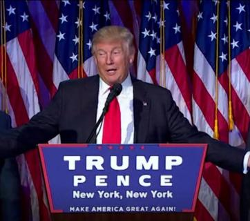 President-elect Donald Trump making a victory speech in early morning of November 9, 2016 (Image: video capture)