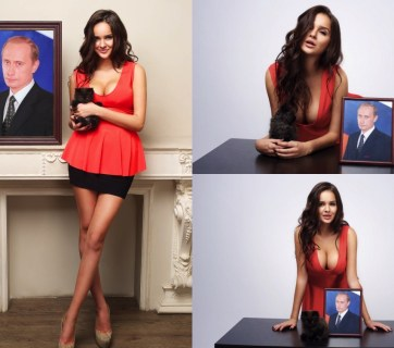 "A ""Pussy for Putin"": In 2010, 17-year old Alisa Kharcheva in a group with other 11 students and would-be students of Moscow State University starred in an erotic calendar for Putin's 58th birthday as Miss April. In 2012, Kharcheva posted these photographs with a cat and Putin portraits in a personal blog post entitled ""Pussy for Putin."" Then she sent a formal notice to Putin's office and posted her phone number on her LiveJournal entry just in case. ""Until Vladimir Vladimirovich decides to pick up his [birthday] gift, the kitty will live with me,"" she wrote. According to Reuters, in 2015, a business associate of Arkady Rotenberg, a close friend of Putin, transferred into her possession an apartment in a smart gated complex in a desirable part of Moscow. She was 23 at the time. (Image: Alisa Kharcheva)"