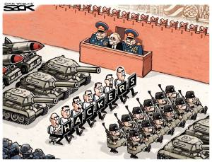 Proud Kremlin hackers in parade on Moscow's Red Square (Political cartoon by SACK / Star Tribute)