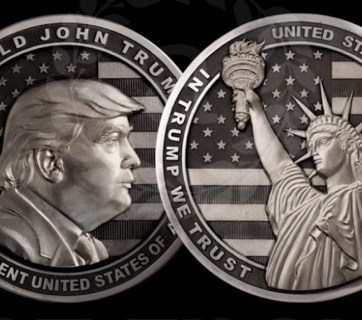 "A two-pound silver coin dedicated to Donald Trump minted in Russia to celebrate his inauguration. The back of the coins shows the Statue of Liberty against a background of the American flag with inscription reading, ""In Trump We trust."" Note spelling errors throughout. (Image: Art Grani)"