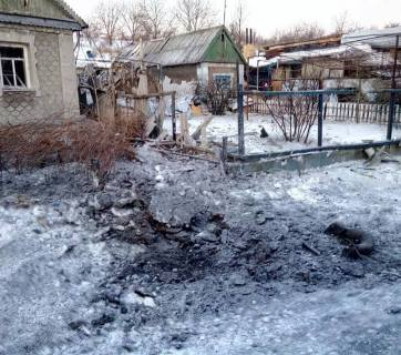 Aftermath of February 15 evening shelling in the old part of Avdiivka. Credit: Vyacheslav Abroskin FB