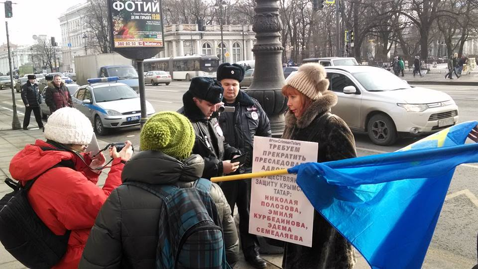 A protest in St. Petersburg in support of Crimean Tatar being repressed by the Russian occupation force in Crimea. February 18, 2017. (Image: ixtc.org)