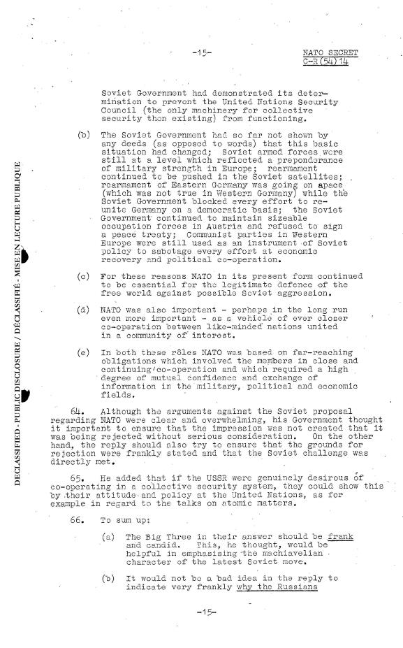 Discussion of the Soviet proposal. Minutes of the meeting on 7 April 1954. Source: archives.nato.int
