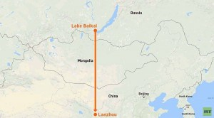 The general location and final destination of the proposed Chinese pipeline to transport water from Lake Baikal to China (Image: asiarussia.ru)