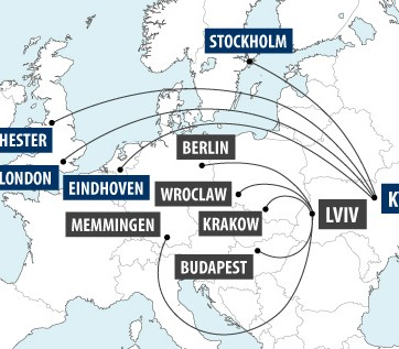 Ryanair's new flights from Kyiv and Lviv. Graphic: Euromaidan Press