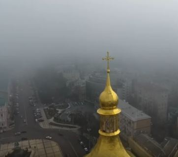 Kyiv under smog on 9 March 2017. Shapshot from video