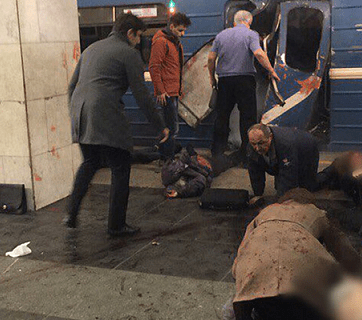 Subway bombing in St. Petersburg, Russia on April 4, 2017 (Image: cont.ws)