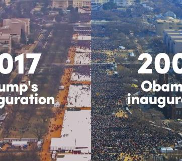 Whether the Trump's inauguration gathered the largest crowd in history? You can check it by yourself actually. Photo: mic.com