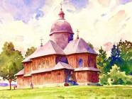 Watercolors of Antin Varyvoda are often the only reminder of the unique wooden churches of the Lemkos