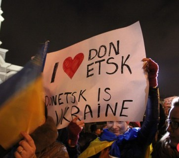 Photo from the pro-Ukrainian unity protest in Donetsk held on 4 March on 2014 by day.kyiv.ua