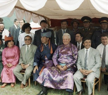 Russian President Boris Yeltsin visiting Tyva Republic, a federal subject of the Russian Federation located on the border with Mongolia, in 1994