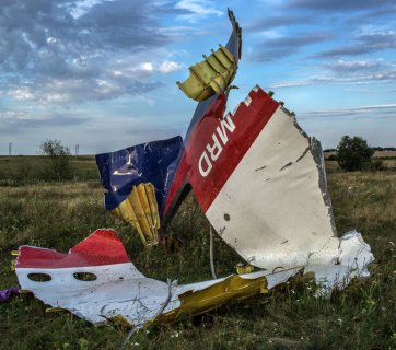 Piece of wreckage from flight MH17 at the site of the plane crash near the village of Hrabove in East Ukraine. Photo: Mauricio Lima