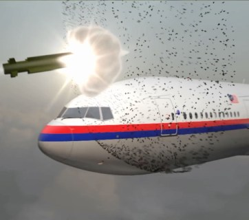 Snapshot of animation released by the Dutch Safety Board in October 2015 as it released its report into the tragedy which definitively showed a Russian-made missile was responsible for the crash