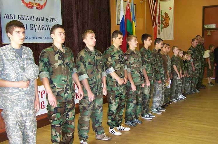 A Russian Cossack paramilitary youth group at the Community Outreach Academy in Sacramento, CA (Image: slavicsoc.com)