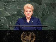 Opening President Dalia Grybauskaite of the Republic of Lithuania addresses the General Assembly's annual general debate. UN Photo/Cia Pakof GA 72 2017 AM  Her Excellency Dalia Grybauskaitė, President of the Republic of Lithuania