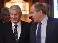 PACE Secretary-General Thorbjørn Jagland (left) and Russia's Foreign Minister Sergei Lavrov (right). Photo: Фото: hispantv.com