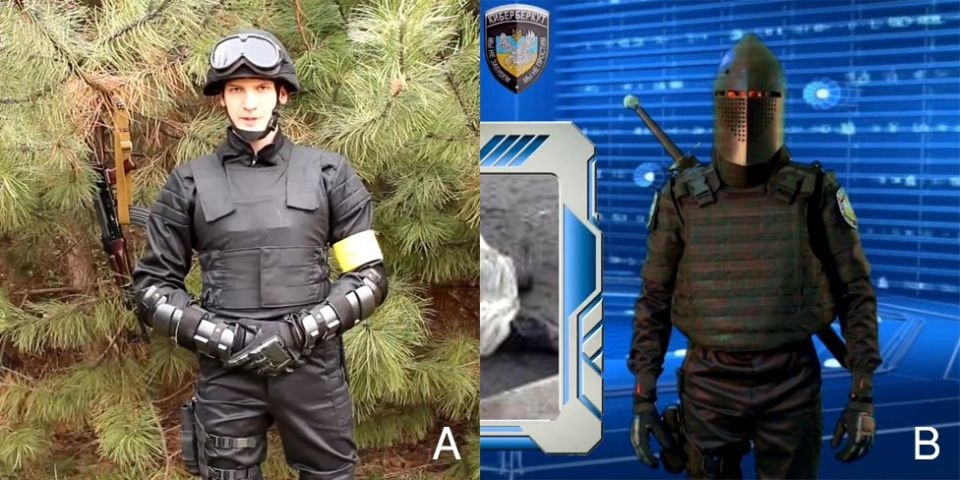 "A: One of Daliant Maksimus's gears. B: A Cyber-Berkut ""knight"" in a similar uniform and gloves. Combined image: BBC Russian"