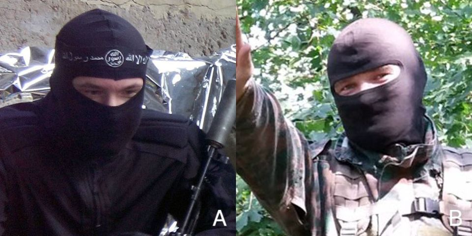"A: ""ISIS fighter"". B: ""ROD"" neo-Pagan having the same eyes. Combined image: BBC Russian"
