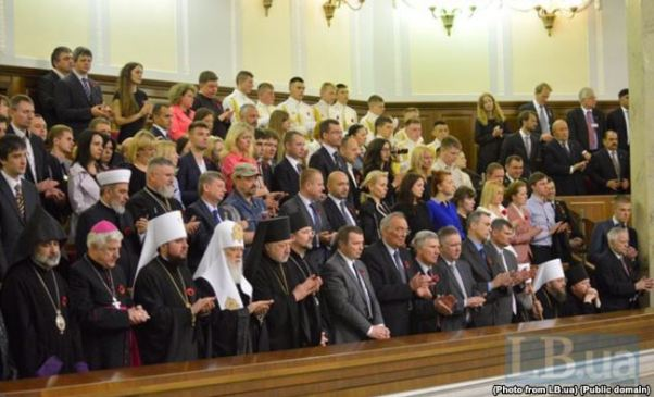 A memorial and reconciliation meeting was held in the Verkhovna Rada on May 8, 2015. The President of Ukraine announced the names of 21 Ukrainians who were awarded the title of Hero of Ukraine, ten of them - posthumously. While the names were being read, all the people present in the Rada chamber, including clerics of different churches and faiths, stood up respectfully, that is, all except the representatives of the UOC-MP, including the head of UOC-MP, Metropolitan Onufriy (Photo: LB.ua)