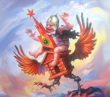 """One flew over the Kremln's nest"". Painting by Viktor Katyushchik, edited by Euromaidan Press"