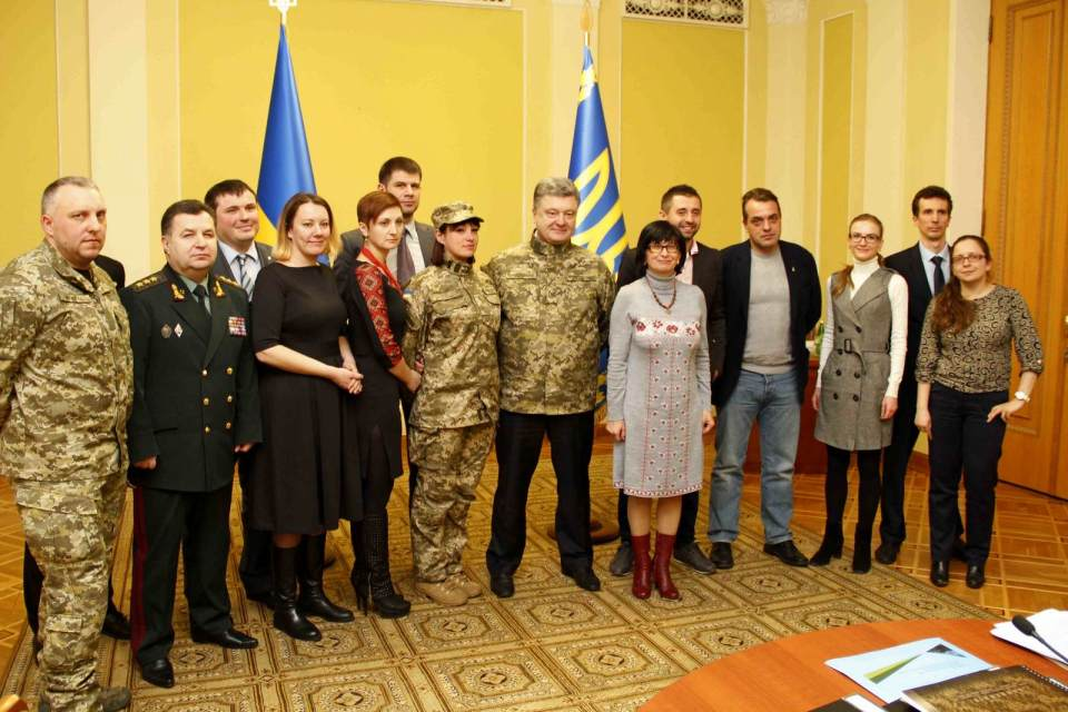 "President Poroshenko at a meeting with volunteers from the ""Volunteer Force"" on 14 March 2015. Photo: mil.gov.ua"