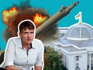 Collage from slovoidilo.ua shows Nadiya Savchenko on the backdroup of the Verkhovna Rada which she is accused of plotting to blow up