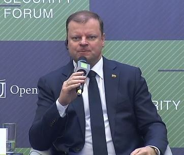 Saulius Skvernelis, the Prime Minister of the Republic of Lithuania, speaking at the 2018 Kyiv Security Forum. Photo: snapshot from video