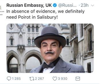 Hercule Poirot, the famous fictional character created by Agatha Christie, is one of the ways Russia tries to deflect suspictions of its participation in poisoning Sergei Skripal. Photo: snapshot from twitter