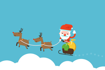 36356969 - santa claus over cloud flat design