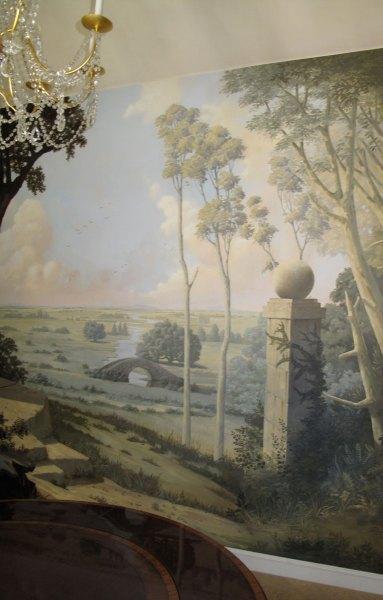 A pastoral dining room scene