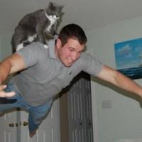 Cat's human hovercraft
