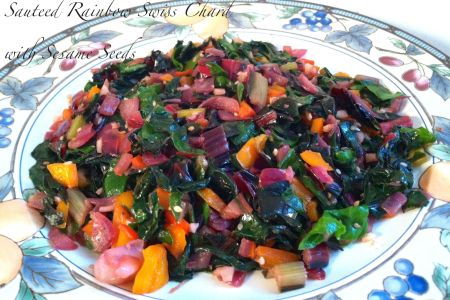 Sauteed Rainbow Swiss Chard with Sesame Seeds