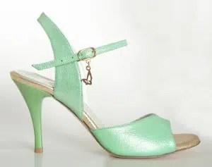 Chaussures de tango femmes marque Turquoise shoes - Modèle M32 Green Gold