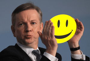 Gove shows of smileys from both ends of the scale