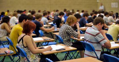 A-level-students-sit-an-A-level-maths-exam-inside-a-sports-hall