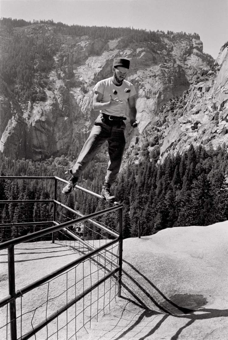 Chuck Pratt balancing delicately above Glacier Point Apron