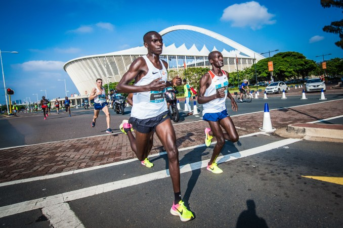 Uganda's Joshua Cheptegei was touted as the race favourite for the inaugural FNB Durban 10K  CITYSURFRUN – and the 21-year-old World Championship 10 000m silver medallist delivered, when he smashed the South African All-Comers Record of 27:55 set by Richard Limo in Port Elizabeth in 2004. Cheptegei crossed the line in 27:28 for the fourth fastest time in the world this year, as well as a Ugandan National Record.  Mercyline Chelangat had the race of her life, improving her best time of 33:17 by a massive 1 min 40 sec to clock an incredible 31:37 for the second fastest time ever on South African soil behind the 31:33 of Elana Meyer in 1991 – ironically also in Durban.