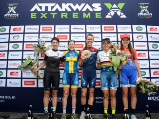 The 2018 Momentum Health Attakwas Extreme, presented by Biogen, women's podium. From left to right: Yolande de Villiers (4th), Jennie Stenerhag (2nd), Ariane Lüthi (1st), Sabine Spitz (3rd) and Candice Lill (5th). Photo by Marike Cronje.