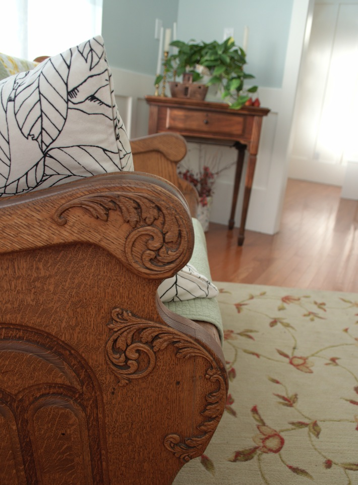 pew used in home decor, detail
