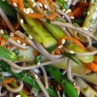 Mint & Scallion Soba Noodle Salad w/ Cucumber, Carrot & Green Bean Threads