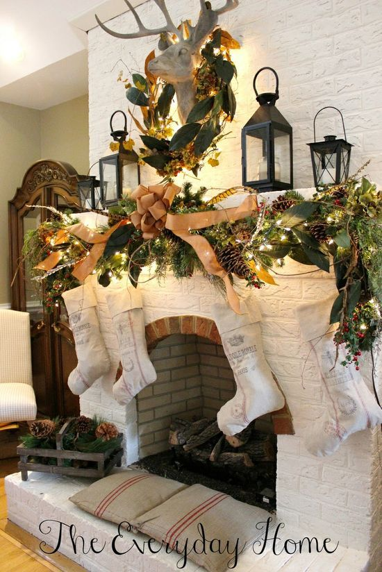 Farmhouse Style Christmas Mantels at The Everyday Home