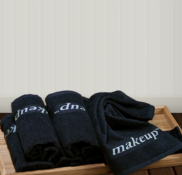 Guest Bedroom Inspiration Black Makeup Towels Bathroom Wood Tray Embroidered Towel