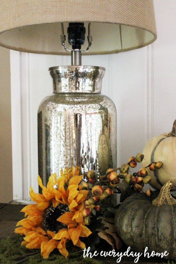 mercury-lamp-on-a-rustic-fall-mantel | The Everyday Home | www.everydayhomeblog.com