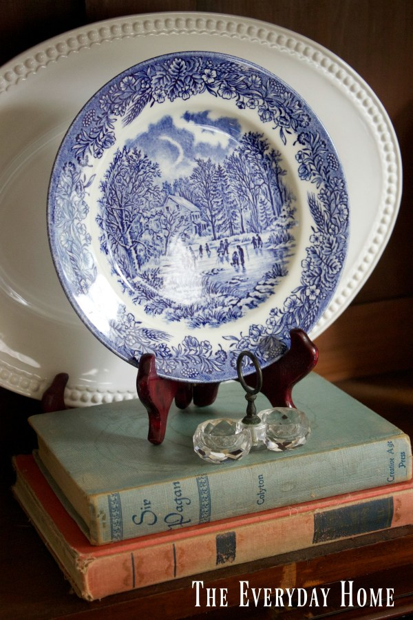 small-blue-plate-in-an-english-hutch | The Everyday Home | www.everydayhomeblog.com