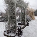 Our arbor with snow and ice